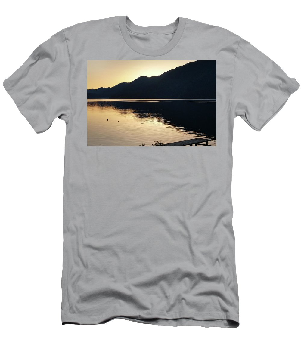 Lake Men's T-Shirt (Athletic Fit) featuring the photograph Lake Cresent At Dusk by Aaron Beaudry