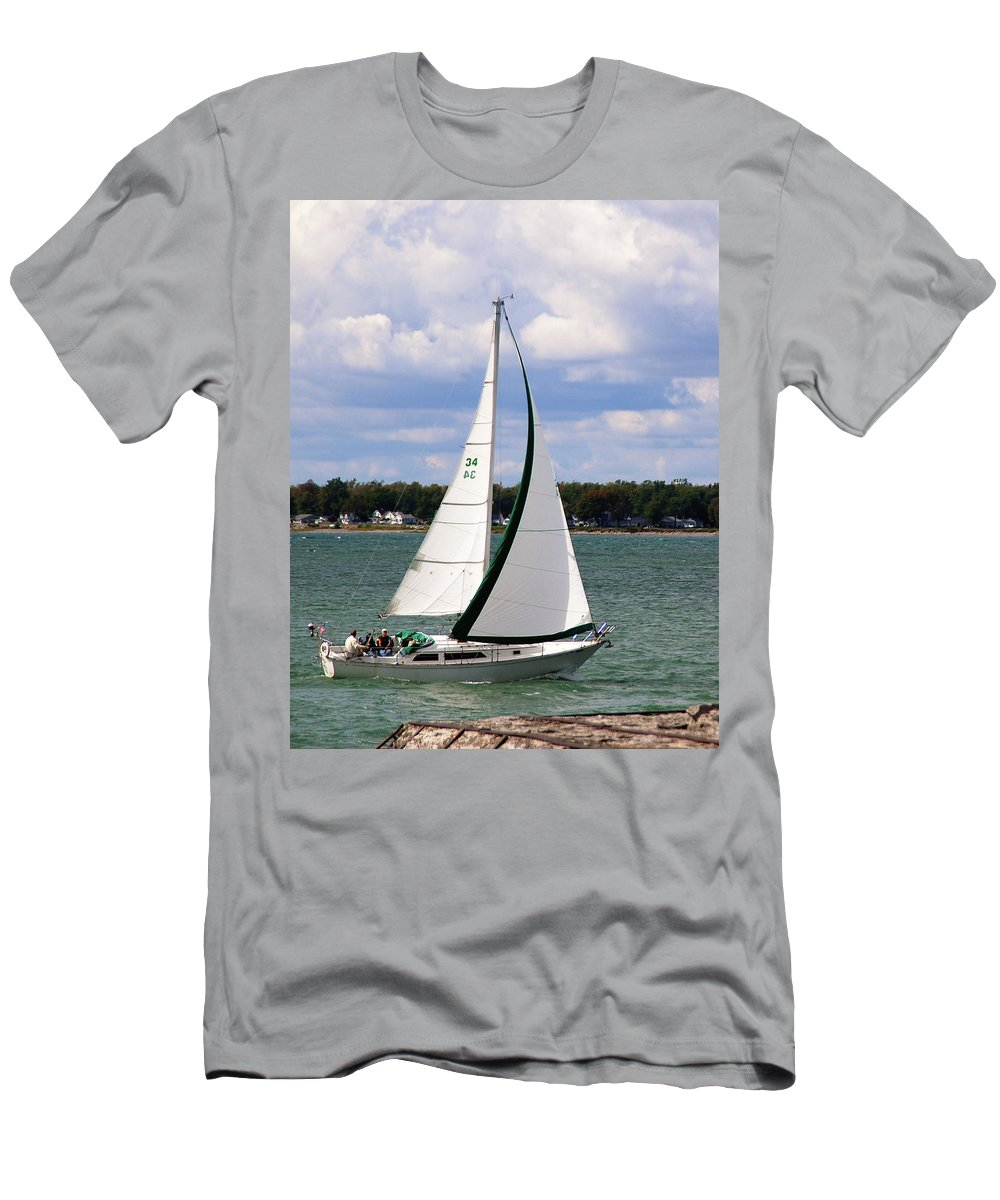 Boat Men's T-Shirt (Athletic Fit) featuring the photograph Lake Erie Sailing 8092 by Guy Whiteley