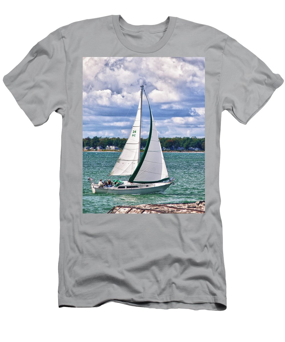 Boat Men's T-Shirt (Athletic Fit) featuring the photograph Lake Erie Sailing 8092h by Guy Whiteley