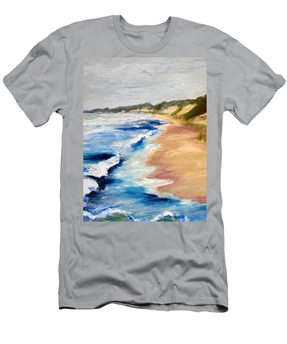 Whitecaps Men's T-Shirt (Athletic Fit) featuring the painting Lake Michigan Beach With Whitecaps Detail by Michelle Calkins