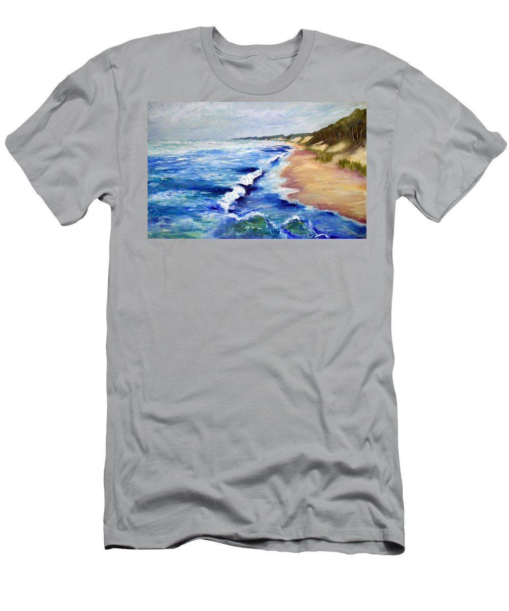 Whitecaps Men's T-Shirt (Athletic Fit) featuring the painting Lake Michigan Beach With Whitecaps by Michelle Calkins