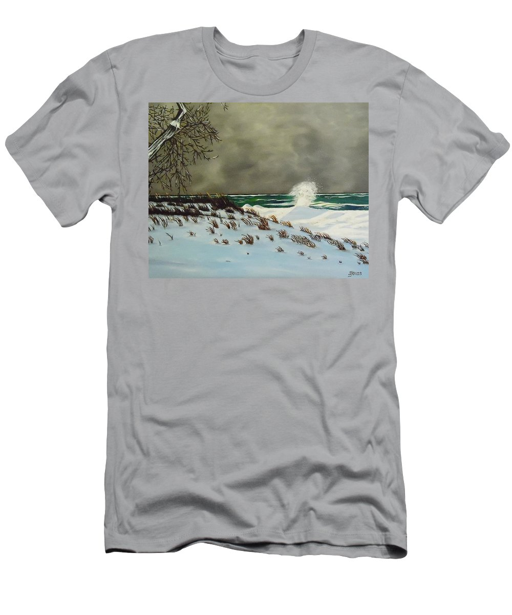Lake Michigan Men's T-Shirt (Athletic Fit) featuring the painting Lake Michigan In The Winter by Janet Guss