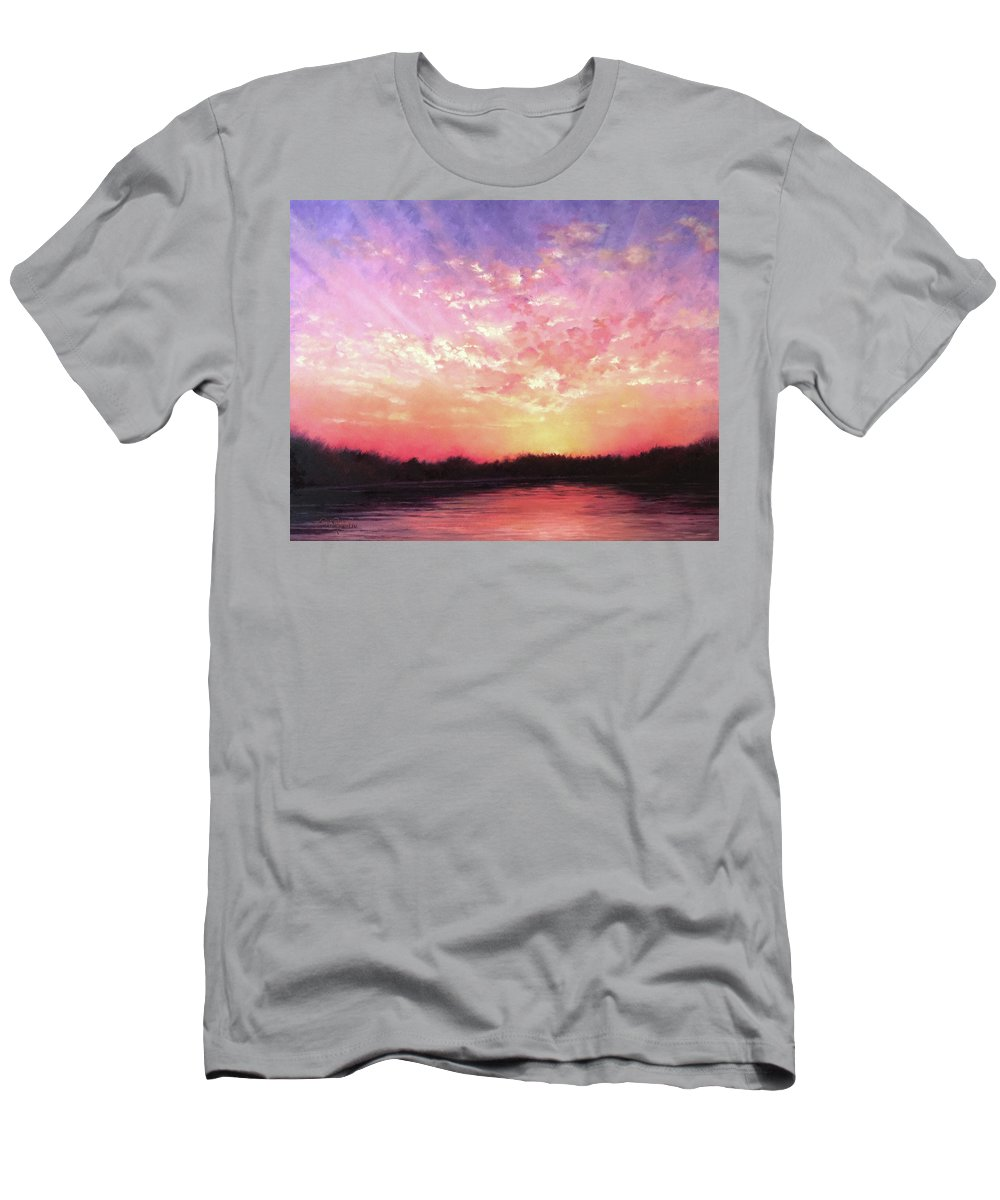 Landscape T-Shirt featuring the painting Lake Sunset by Teri Rosario