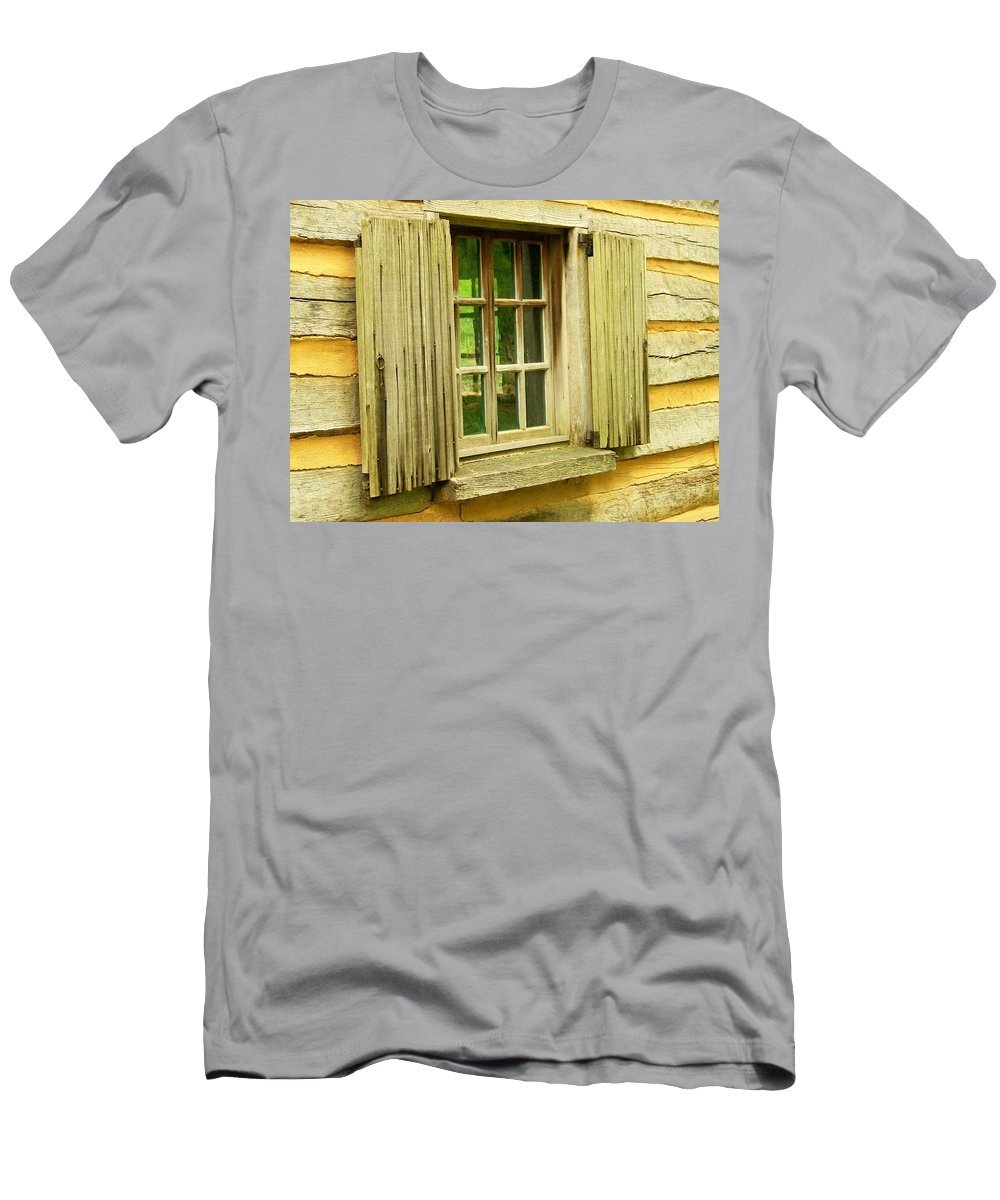 Men's T-Shirt (Athletic Fit) featuring the photograph Landis Valley Window by Trish Tritz
