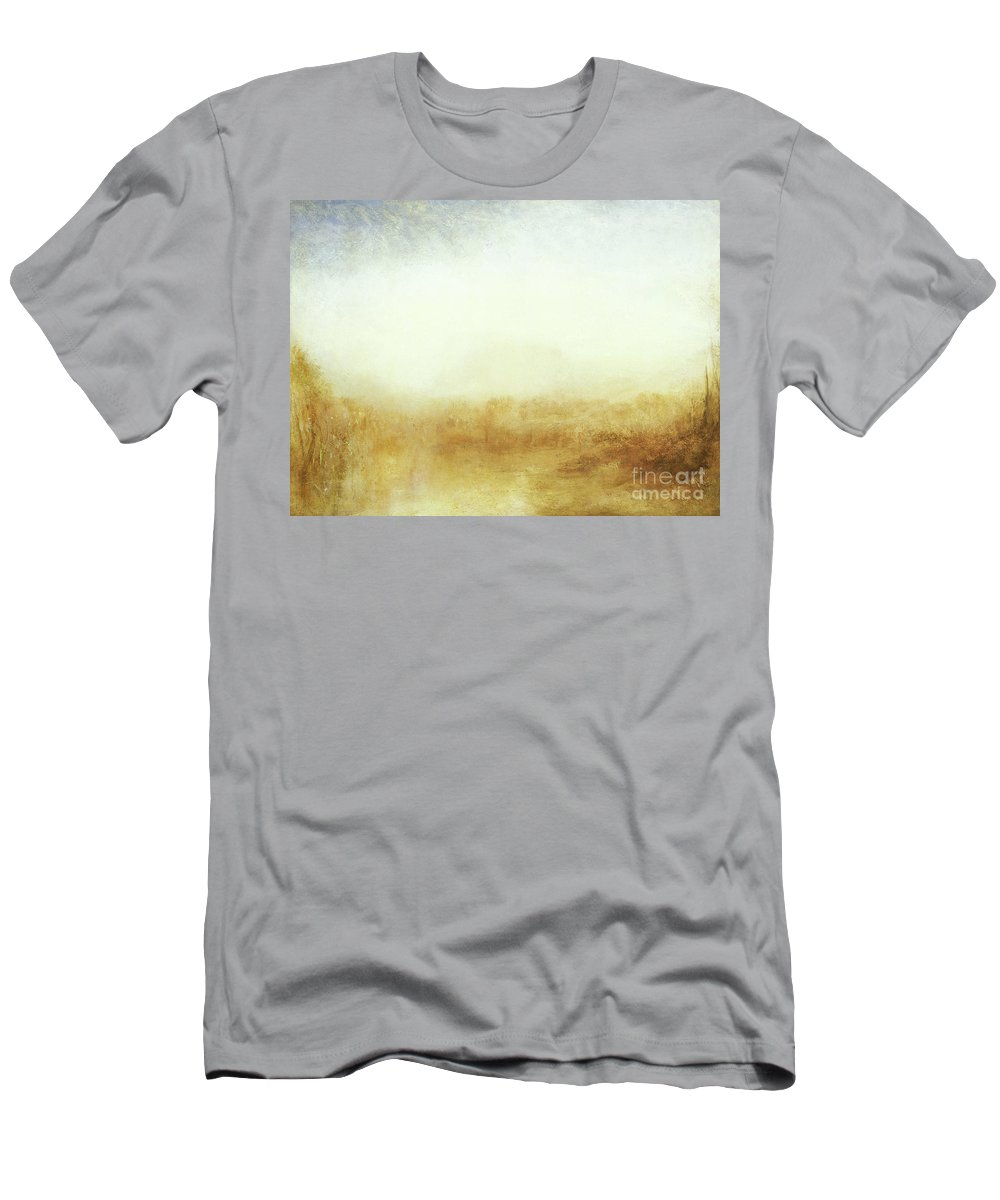Turner Men's T-Shirt (Athletic Fit) featuring the painting Landscape Castle From The Meadows by Joseph Mallord William Turner