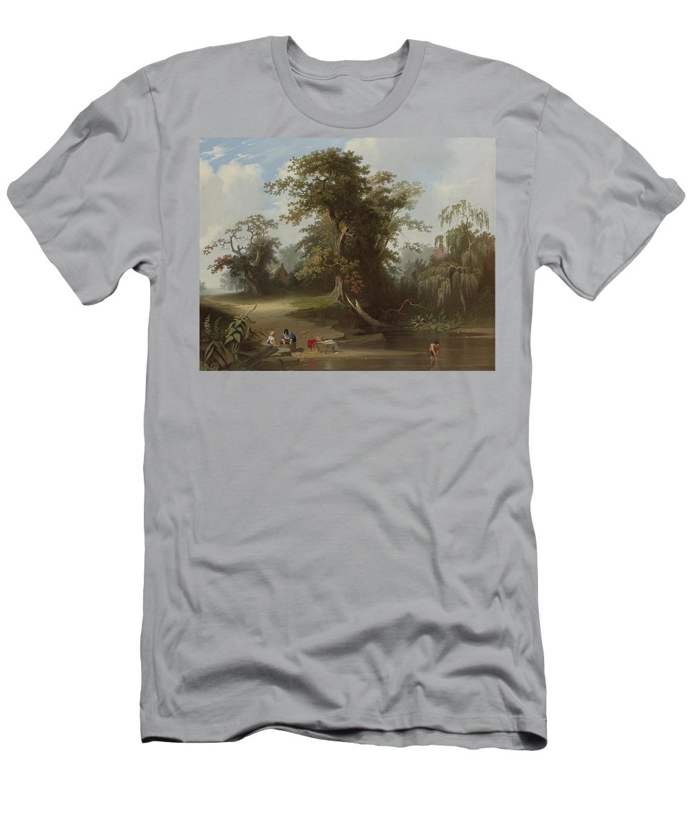 Landscape. Rural Scenery By George Caleb Bingham Men's T-Shirt (Athletic Fit) featuring the painting Landscape by George Caleb Bingham