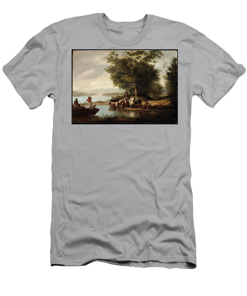 Landscape With Cows Men's T-Shirt (Athletic Fit) featuring the painting Landscape With Cows by MotionAge Designs