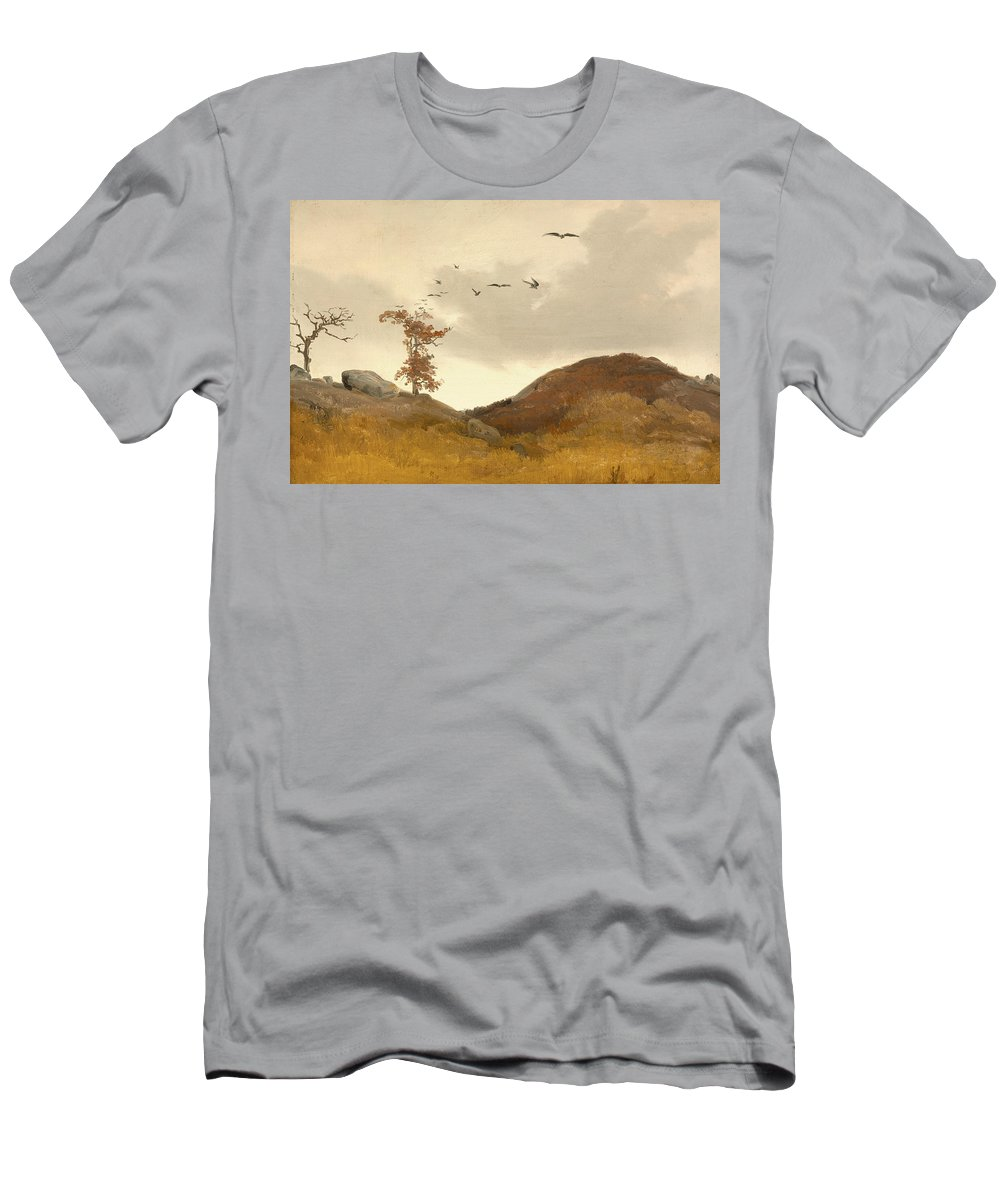 German Art Men's T-Shirt (Athletic Fit) featuring the painting Landscape With Crows by Carl Friedrich Lessing