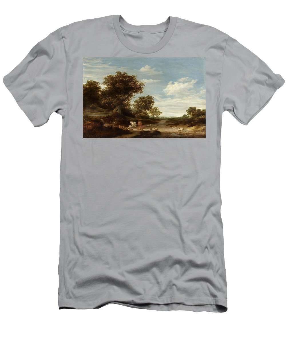 Landscape Men's T-Shirt (Athletic Fit) featuring the painting Landscape With Gracing Cows And Sheep by Celestial Images