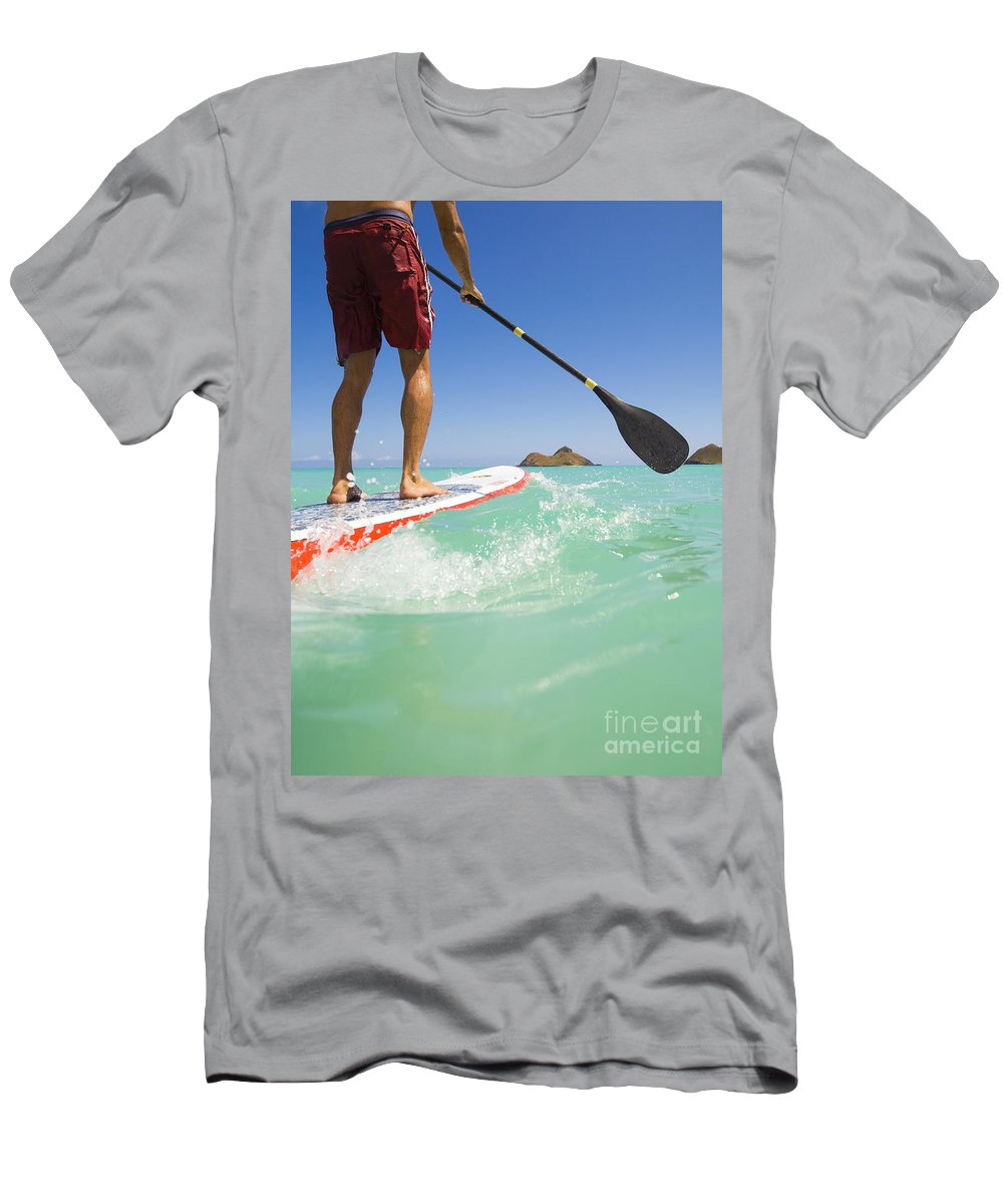 Adrenaline Men's T-Shirt (Athletic Fit) featuring the photograph Lanikai Stand Up Paddling by Dana Edmunds - Printscapes