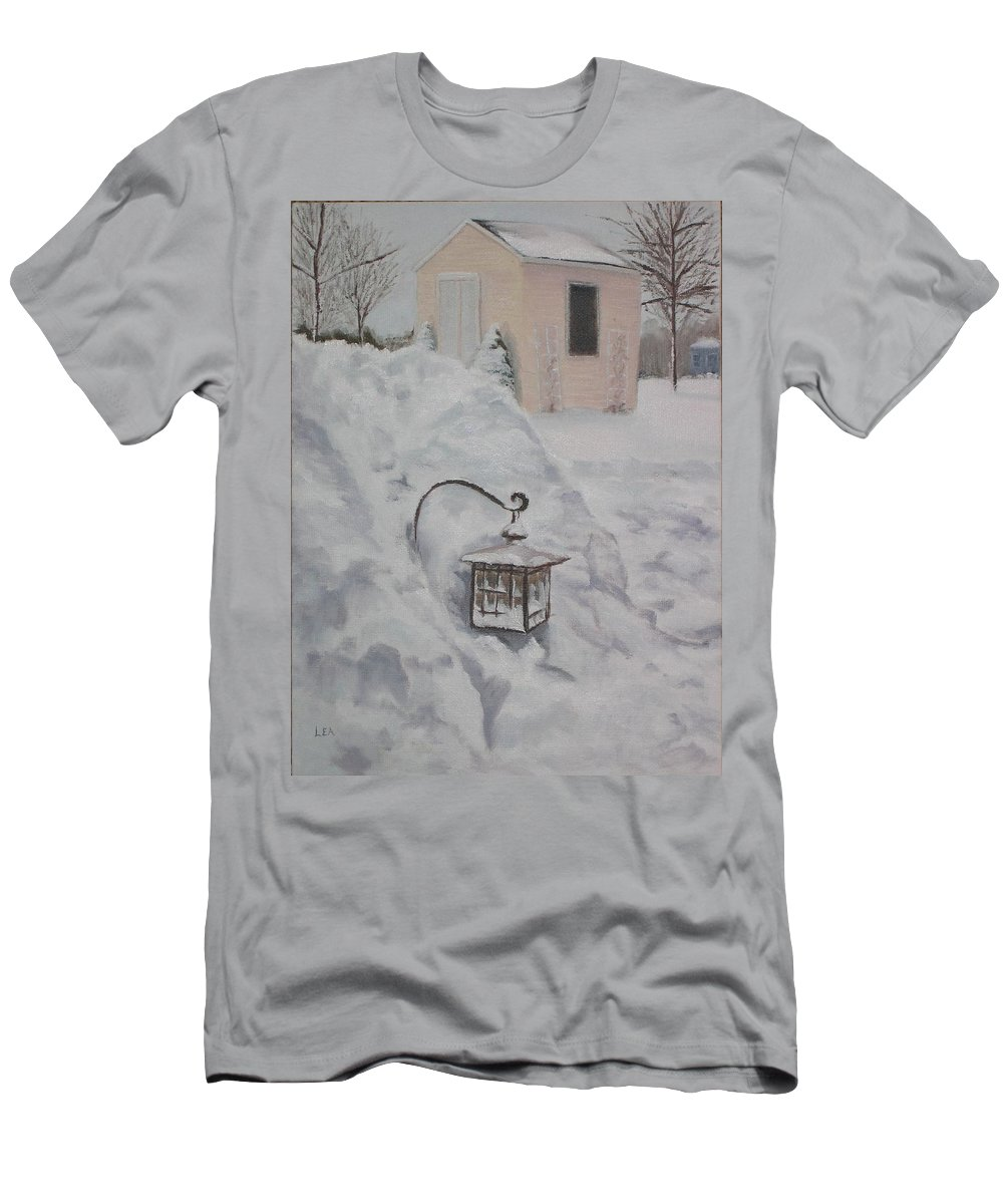 Snow T-Shirt featuring the painting Lantern in the Snow by Lea Novak