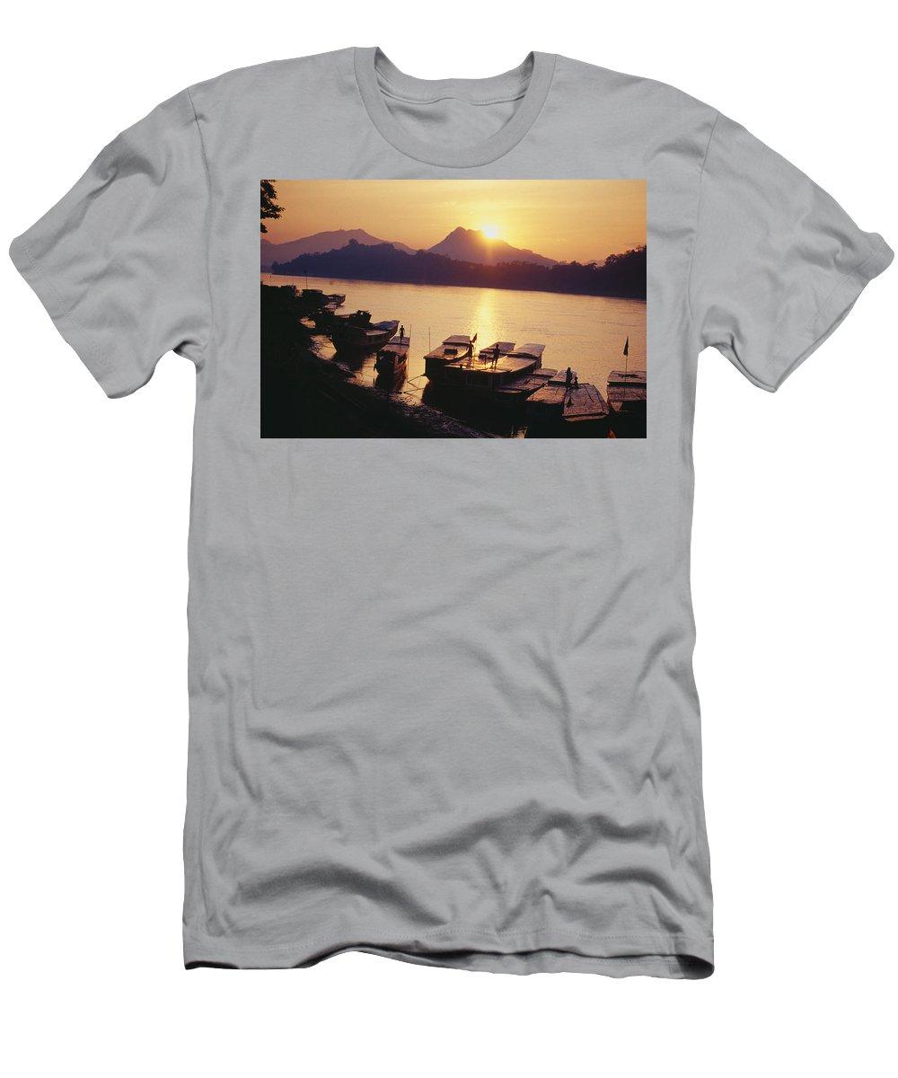Allan Seiden Men's T-Shirt (Athletic Fit) featuring the photograph Laos, Luang Prabang by Allan Seiden - Printscapes