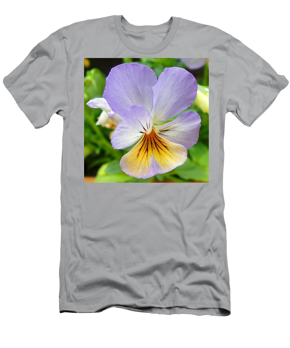 Pansy Men's T-Shirt (Athletic Fit) featuring the photograph Lavender Pansy by Nancy Mueller