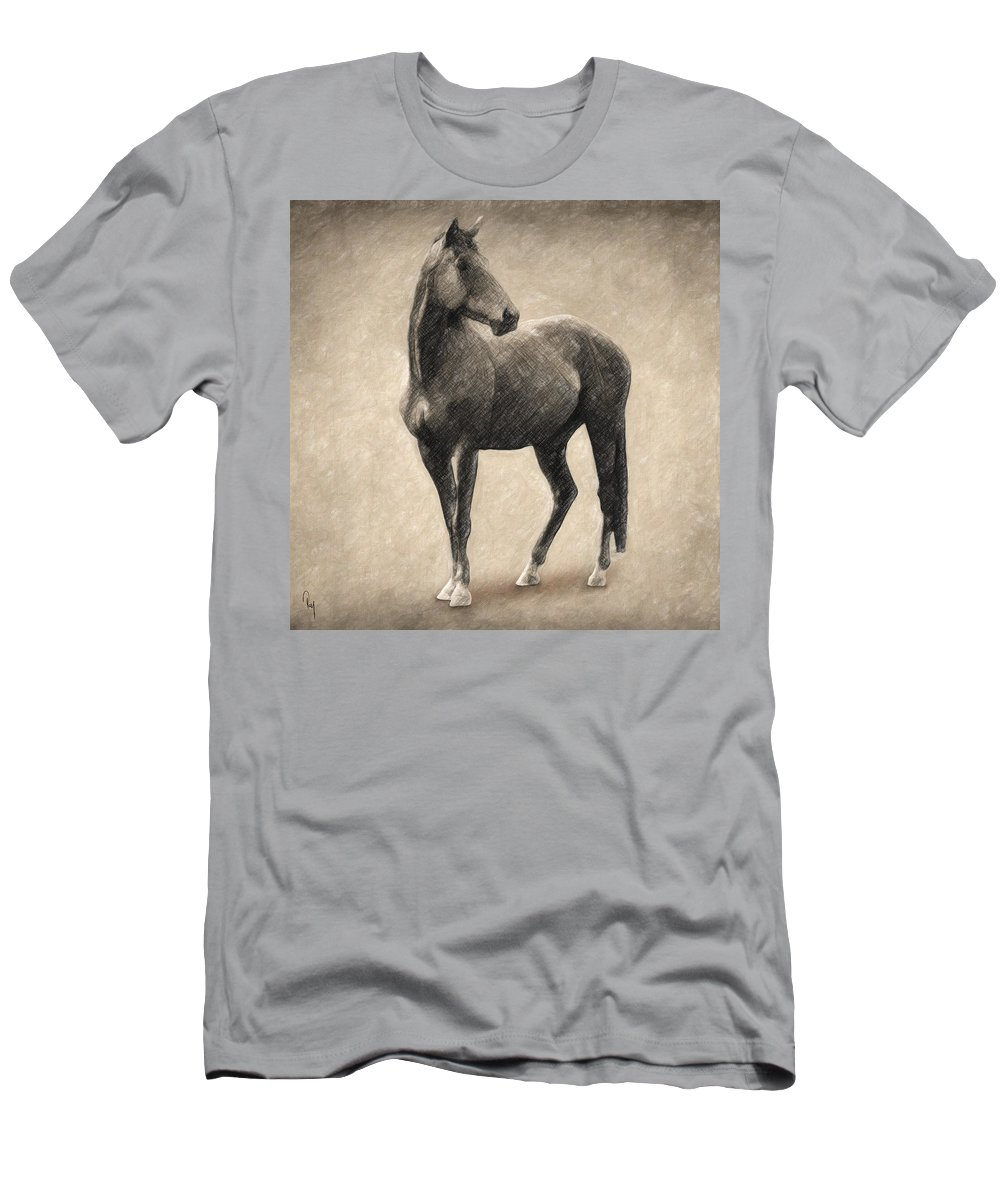 Horse Men's T-Shirt (Athletic Fit) featuring the drawing Le Cheval by Zapista