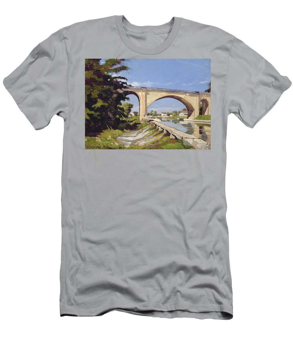 Pont Men's T-Shirt (Athletic Fit) featuring the painting Le Pont Canal A Briare by Henri Joseph Harpignies