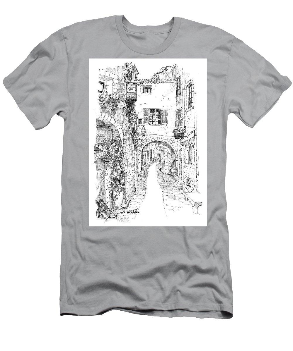 Architecture Men's T-Shirt (Athletic Fit) featuring the drawing Le Pontis Saint-paul De Vence France by Ken Pieper