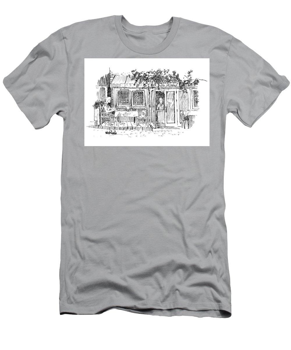 Architecture Men's T-Shirt (Athletic Fit) featuring the drawing Le Tilleul In Saint-paul De Vence France by Ken Pieper