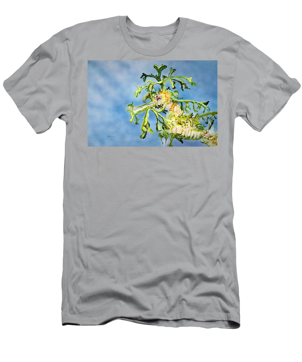 Animal Art Men's T-Shirt (Athletic Fit) featuring the painting Leafy Sea Dragon by Tanya L Haynes - Printscapes