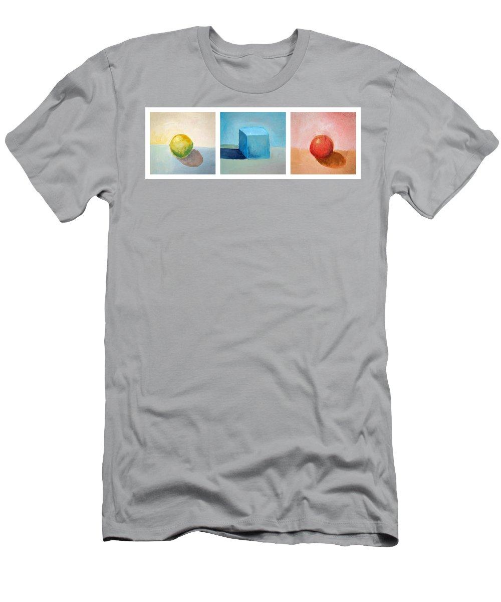 Lemon Men's T-Shirt (Athletic Fit) featuring the painting Lemon Cube Sphere by Michelle Calkins