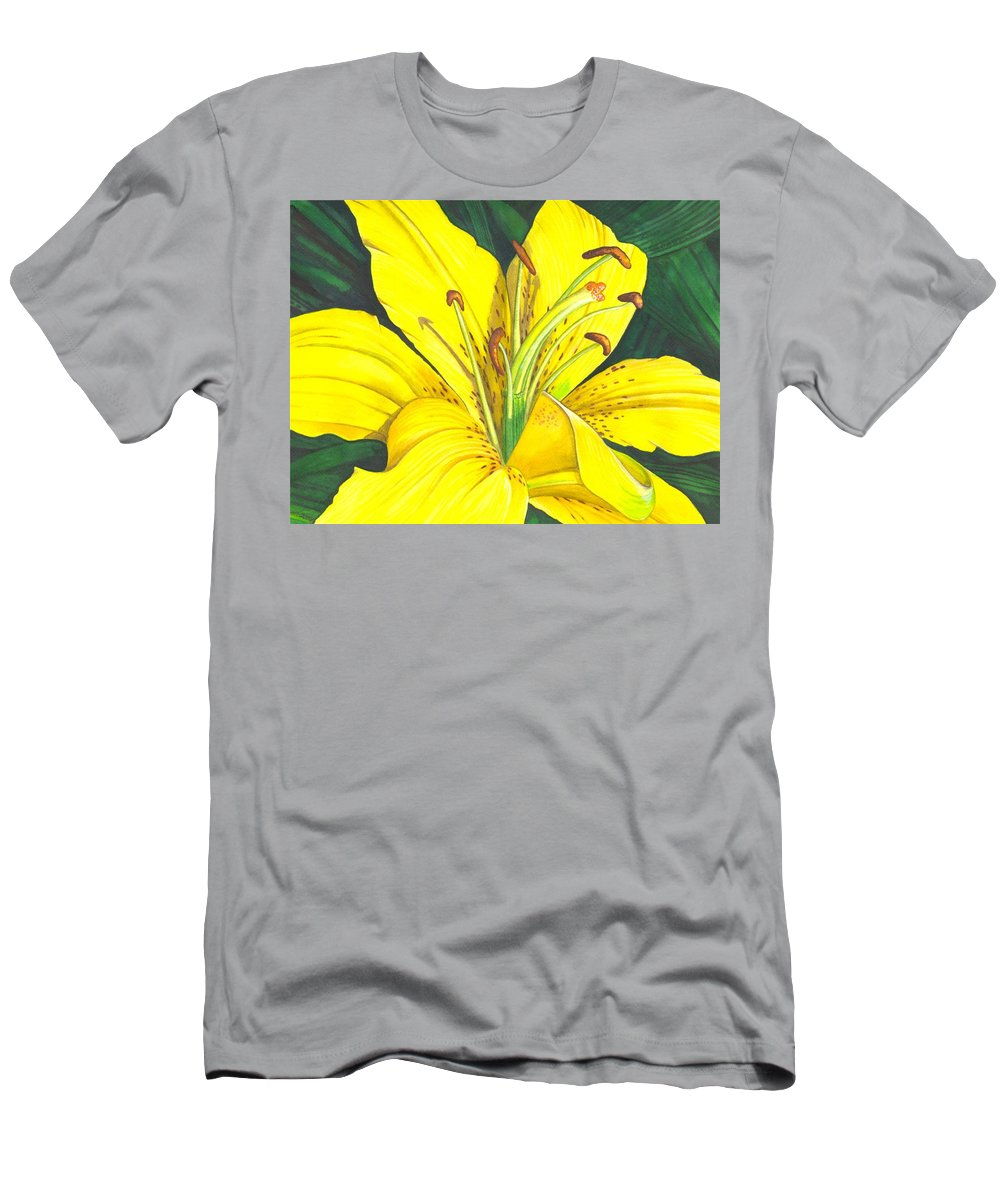 Lily Men's T-Shirt (Athletic Fit) featuring the painting Lemon Lily by Catherine G McElroy