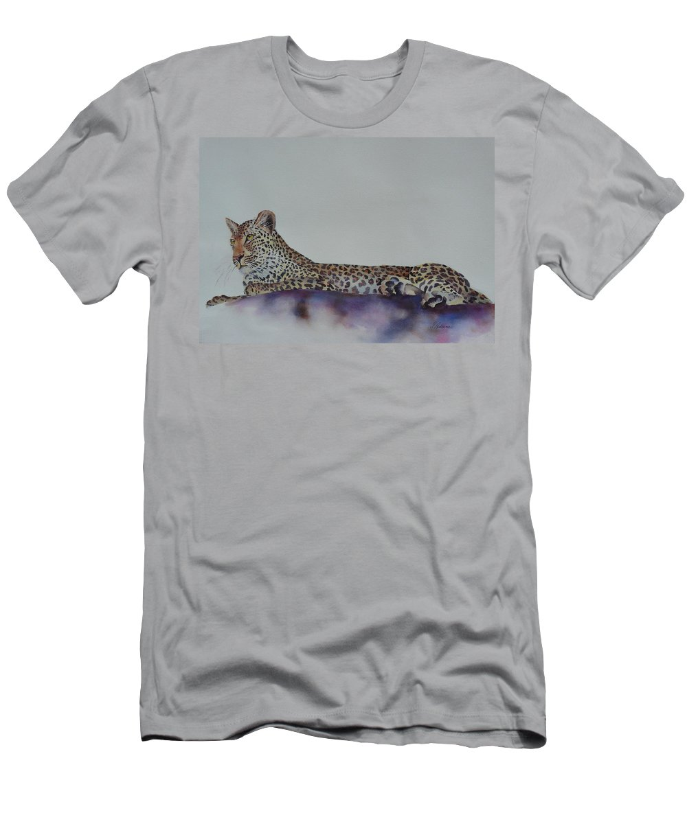 Cat Men's T-Shirt (Athletic Fit) featuring the painting Leopard On Rock by Yvonne Ankerman