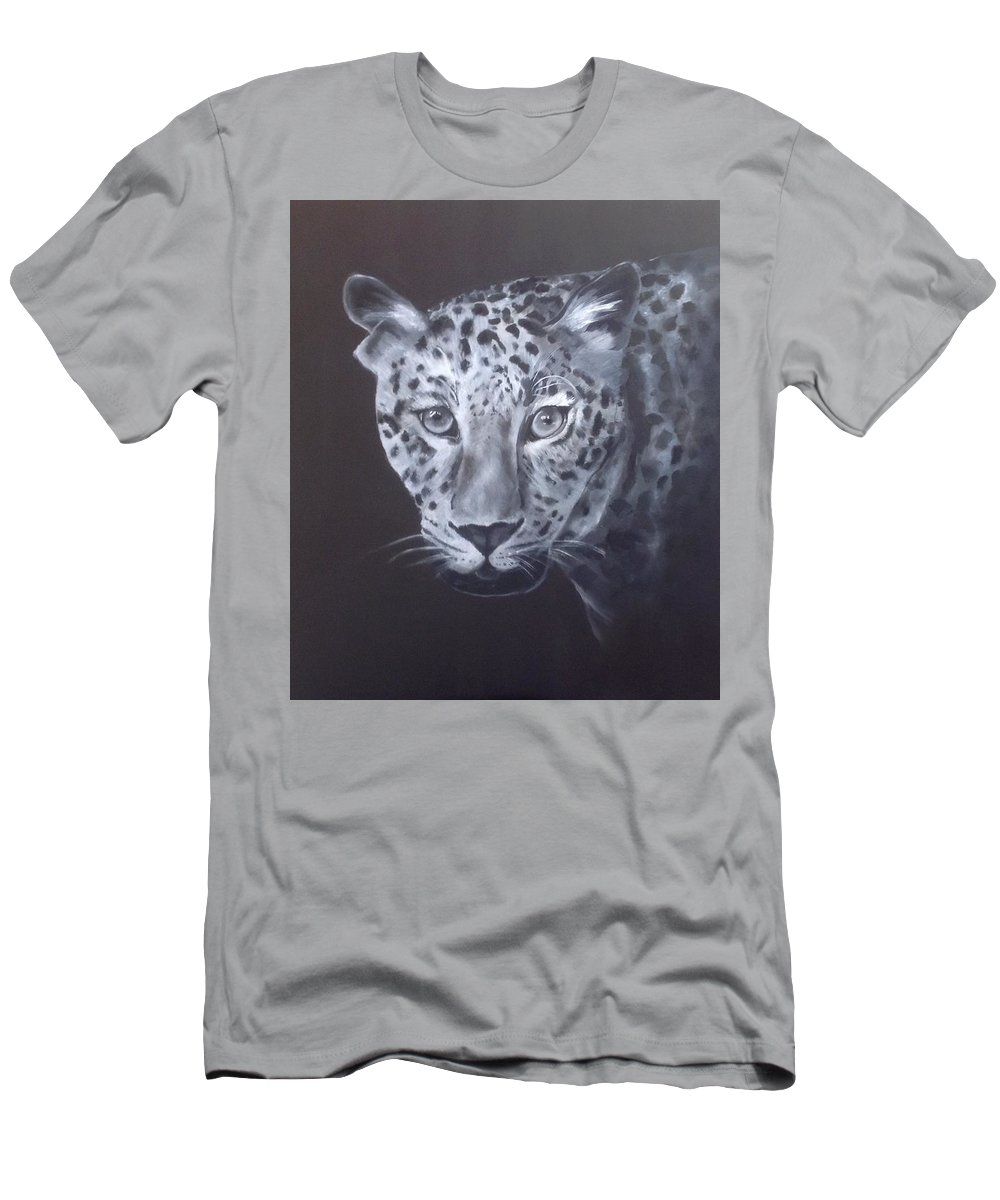 Leopard Men's T-Shirt (Athletic Fit) featuring the painting Leopard by Suzaan Heymans