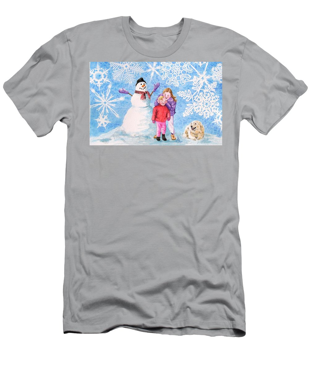 Snowman Men's T-Shirt (Athletic Fit) featuring the painting Let It Snow by Gale Cochran-Smith