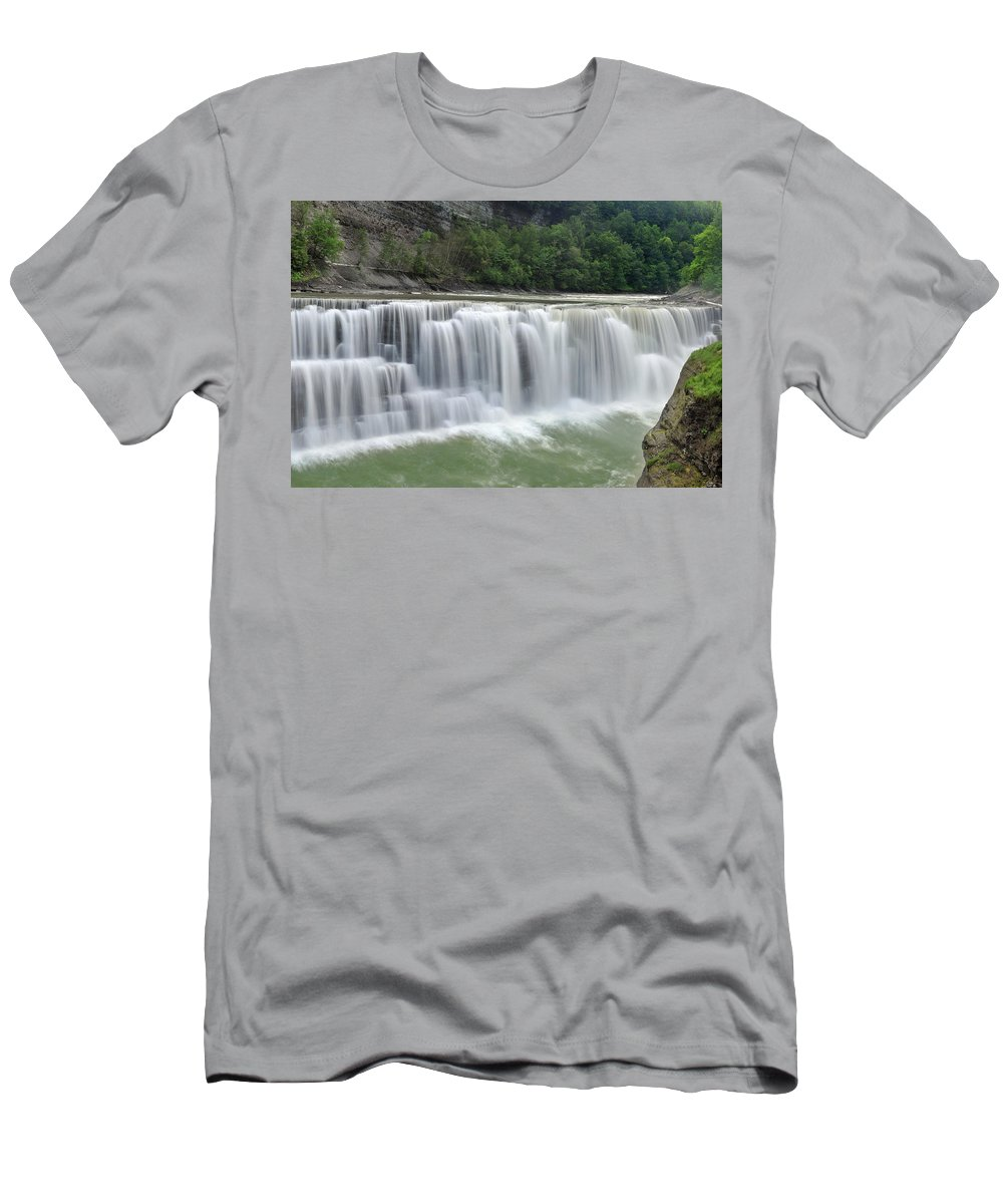 Letchworth Falls State Park Men's T-Shirt (Athletic Fit) featuring the photograph Letchworth Falls Sp Lower Falls by Dean Hueber