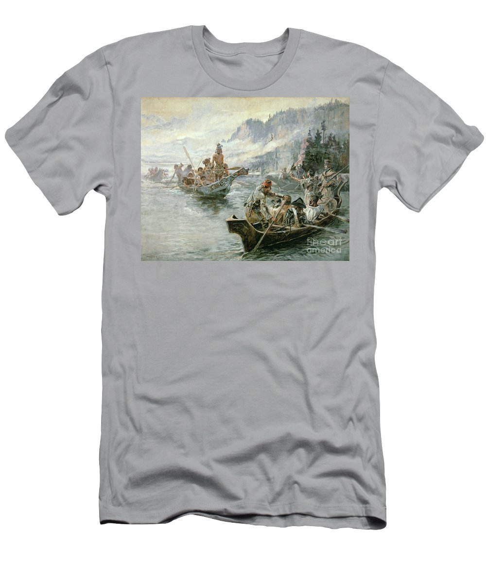 Rivers Men's T-Shirt (Athletic Fit) featuring the painting Lewis And Clark On The Lower Columbia River by Charles Marion Russell