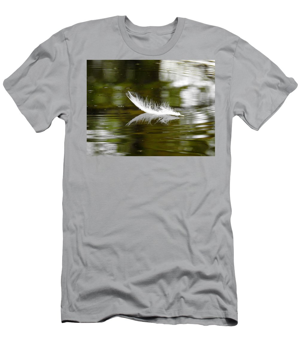 Feather Men's T-Shirt (Athletic Fit) featuring the photograph Light As A Feather by Delana Epperson