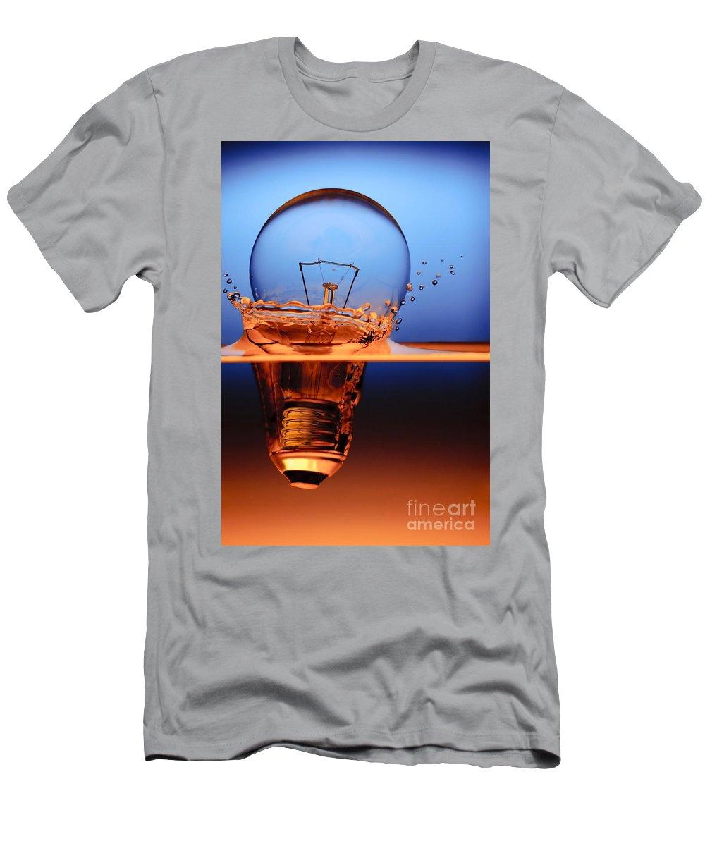Alternative Men's T-Shirt (Athletic Fit) featuring the photograph Light Bulb And Splash Water by Setsiri Silapasuwanchai