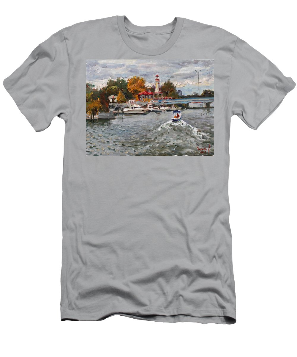 Light House Men's T-Shirt (Athletic Fit) featuring the painting Light House Mississauga by Ylli Haruni