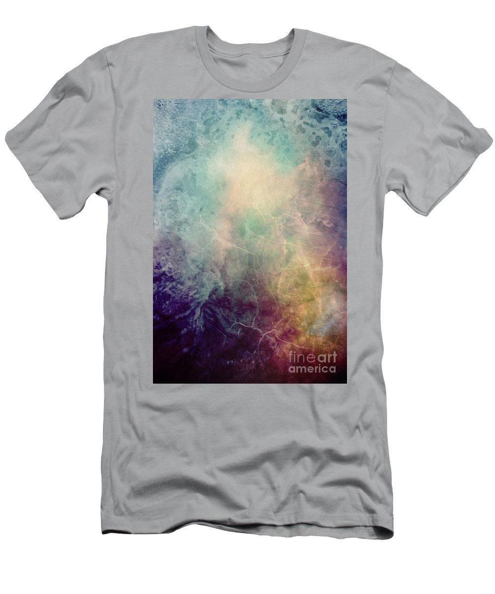 Abstract Painting Men's T-Shirt (Athletic Fit) featuring the painting Light Of Life Abstract Painting by Justyna JBJart