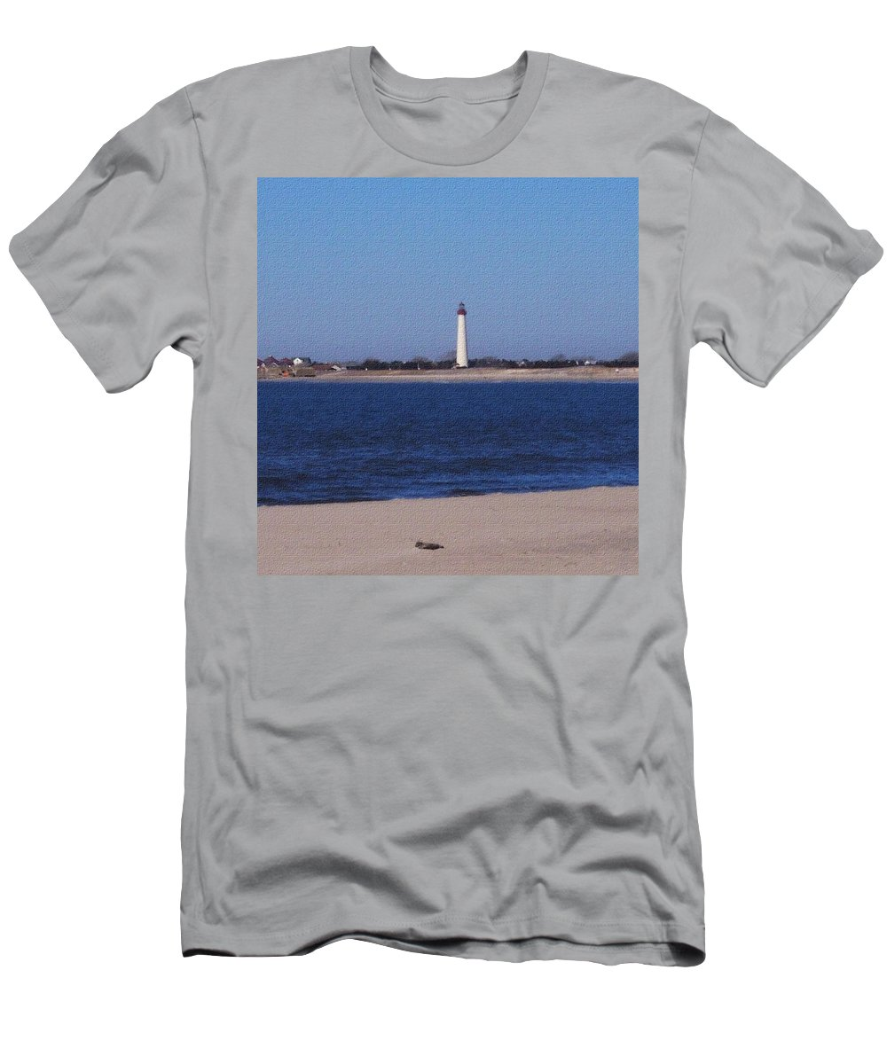Lighthouse Men's T-Shirt (Athletic Fit) featuring the photograph Lighthouse At The Point by Pharris Art