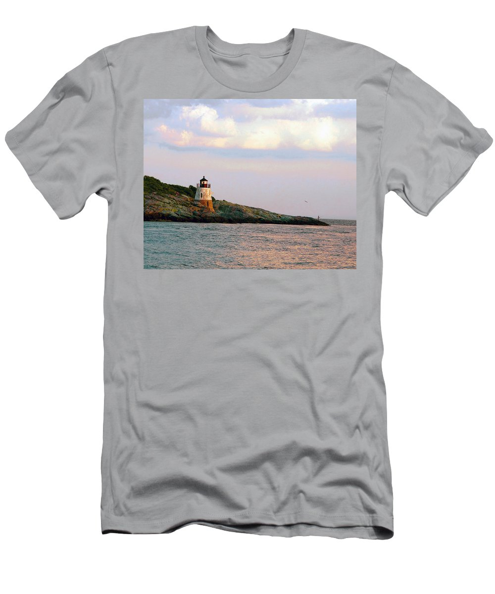 Lighthouse Men's T-Shirt (Athletic Fit) featuring the photograph Lighthouse Castle Hill by Steven Natanson