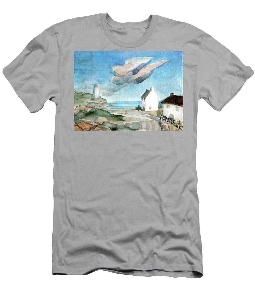 Lighthouse Harbour 3 - Original Fine Art - Watercolour Painting - Lighthouse Painting - Elizabethafox Men's T-Shirt (Athletic Fit) featuring the painting Lighthouse Harbour 3 by Elizabetha Fox