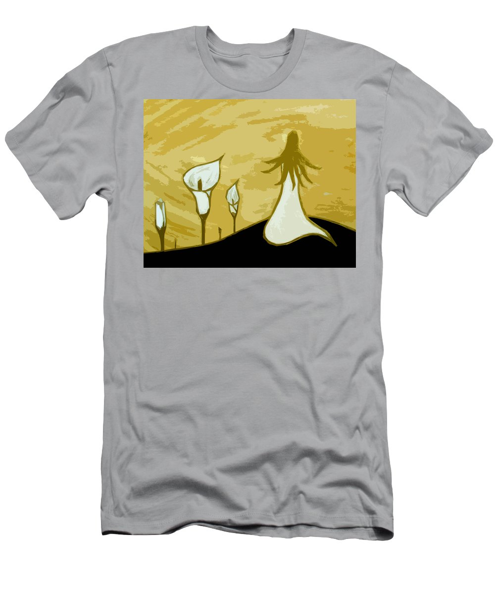 Lady Men's T-Shirt (Athletic Fit) featuring the painting Lilies Of The Field 3 by Angelina Vick