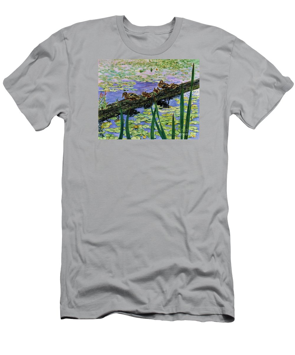 Cynthia Pride Watercolor Paintings Men's T-Shirt (Athletic Fit) featuring the painting Lily Marsh Family by Cynthia Pride