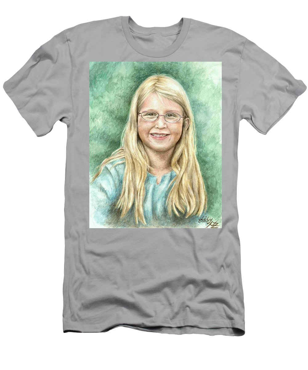 Girl Men's T-Shirt (Athletic Fit) featuring the painting Lily by Nicole Zeug