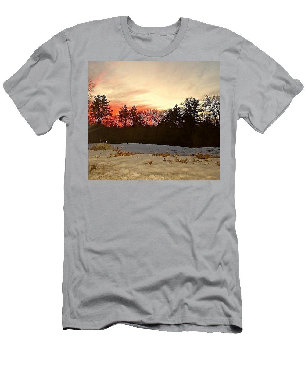 Pastel Colors Men's T-Shirt (Athletic Fit) featuring the photograph Lingering Winter by Elizabeth Tillar