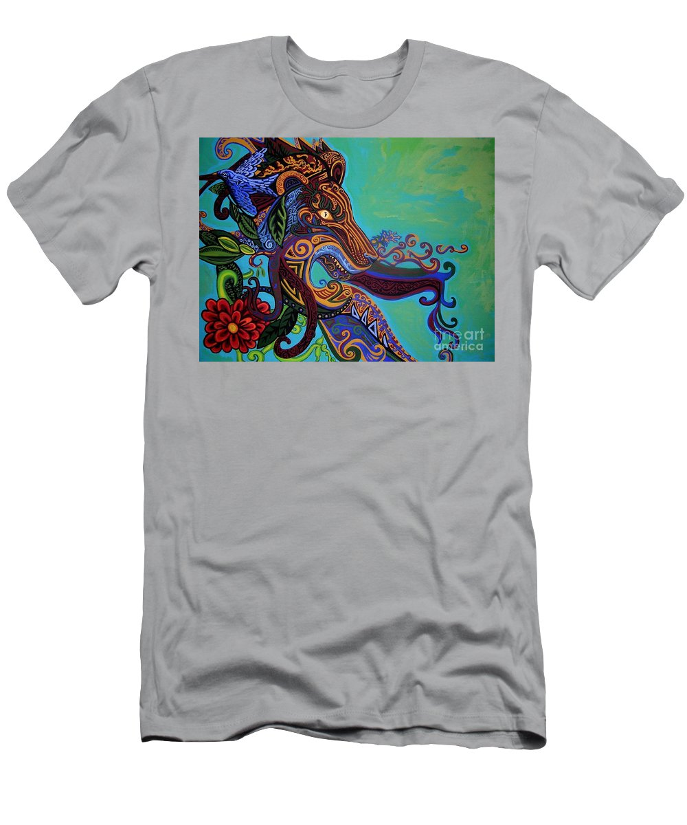 Gargoyle Lion Men's T-Shirt (Athletic Fit) featuring the painting Lion Gargoyle by Genevieve Esson