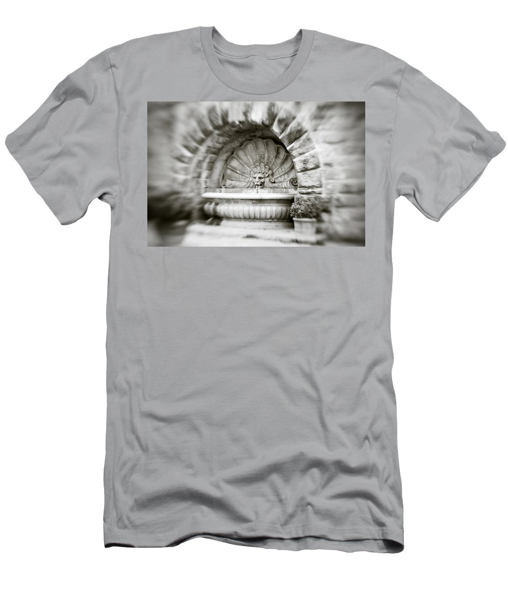 Lion Men's T-Shirt (Athletic Fit) featuring the photograph Lion Head Fountain by Marilyn Hunt