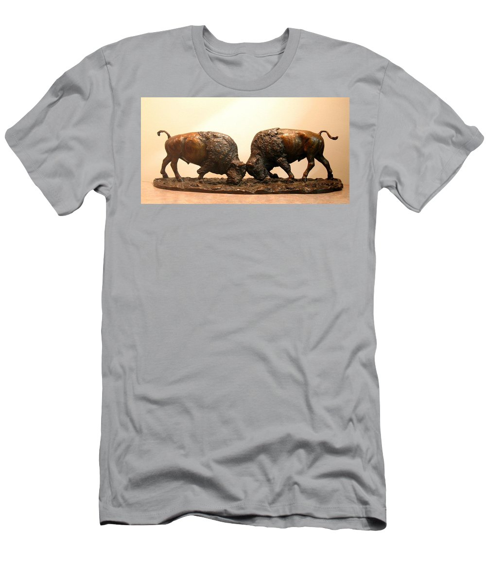 Bronze Men's T-Shirt (Athletic Fit) featuring the photograph Litigation Bronze Sculpture Of Two American Bison Bulls Fighting by Kim Corpany