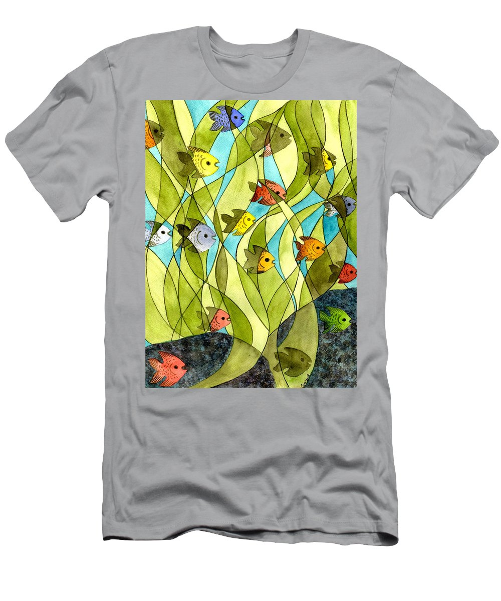 Fish Men's T-Shirt (Athletic Fit) featuring the painting Little Fish Big Pond by Catherine G McElroy