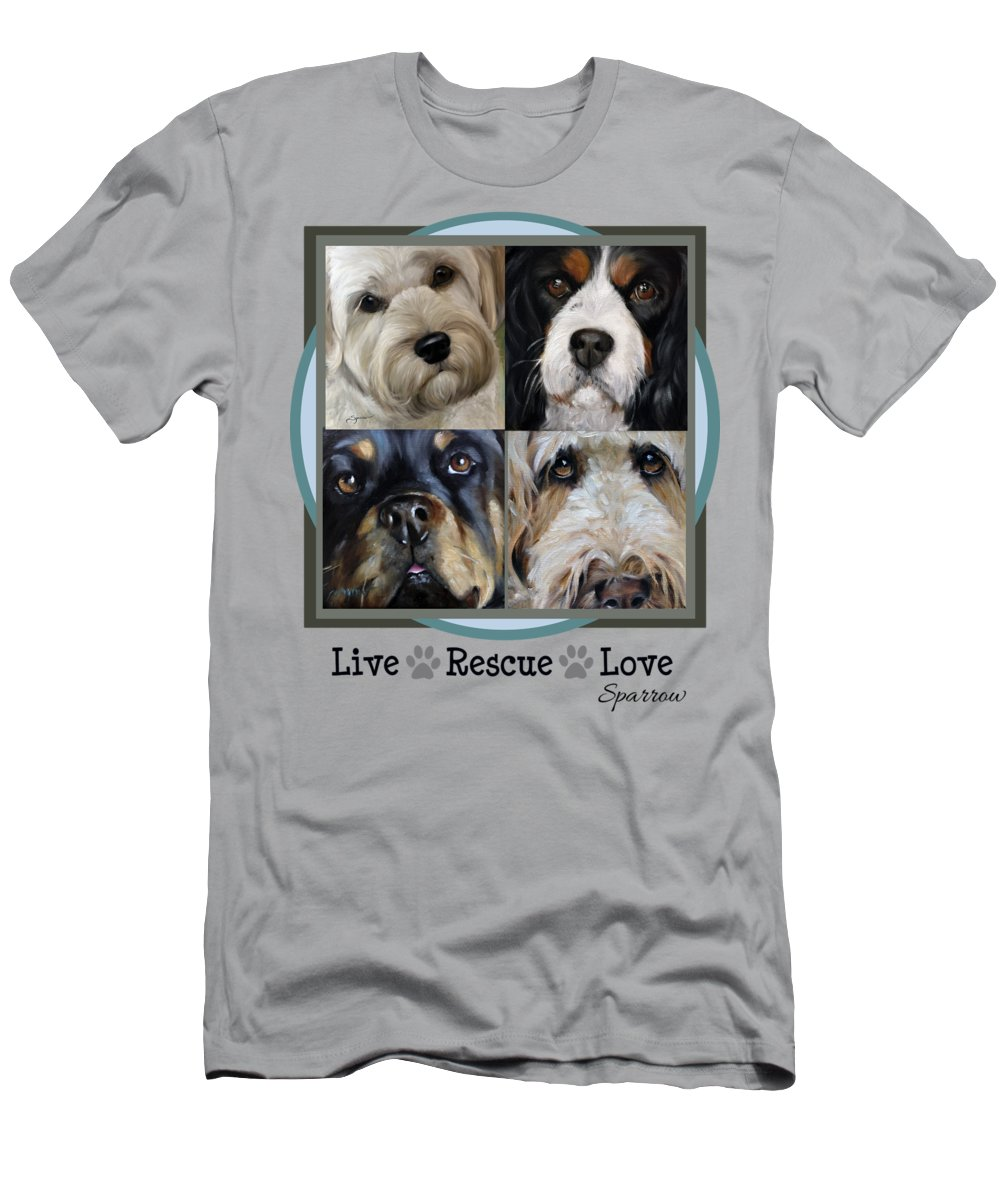 Love Men's T-Shirt (Athletic Fit) featuring the painting Live Rescue Love by Mary Sparrow