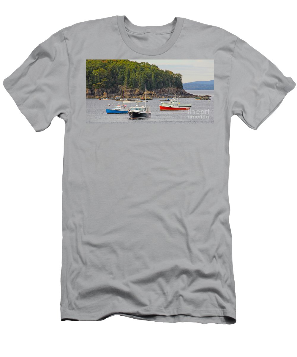 Lobster Boats Men's T-Shirt (Athletic Fit) featuring the photograph Lobster Boats In Bar Harbor by Jack Schultz