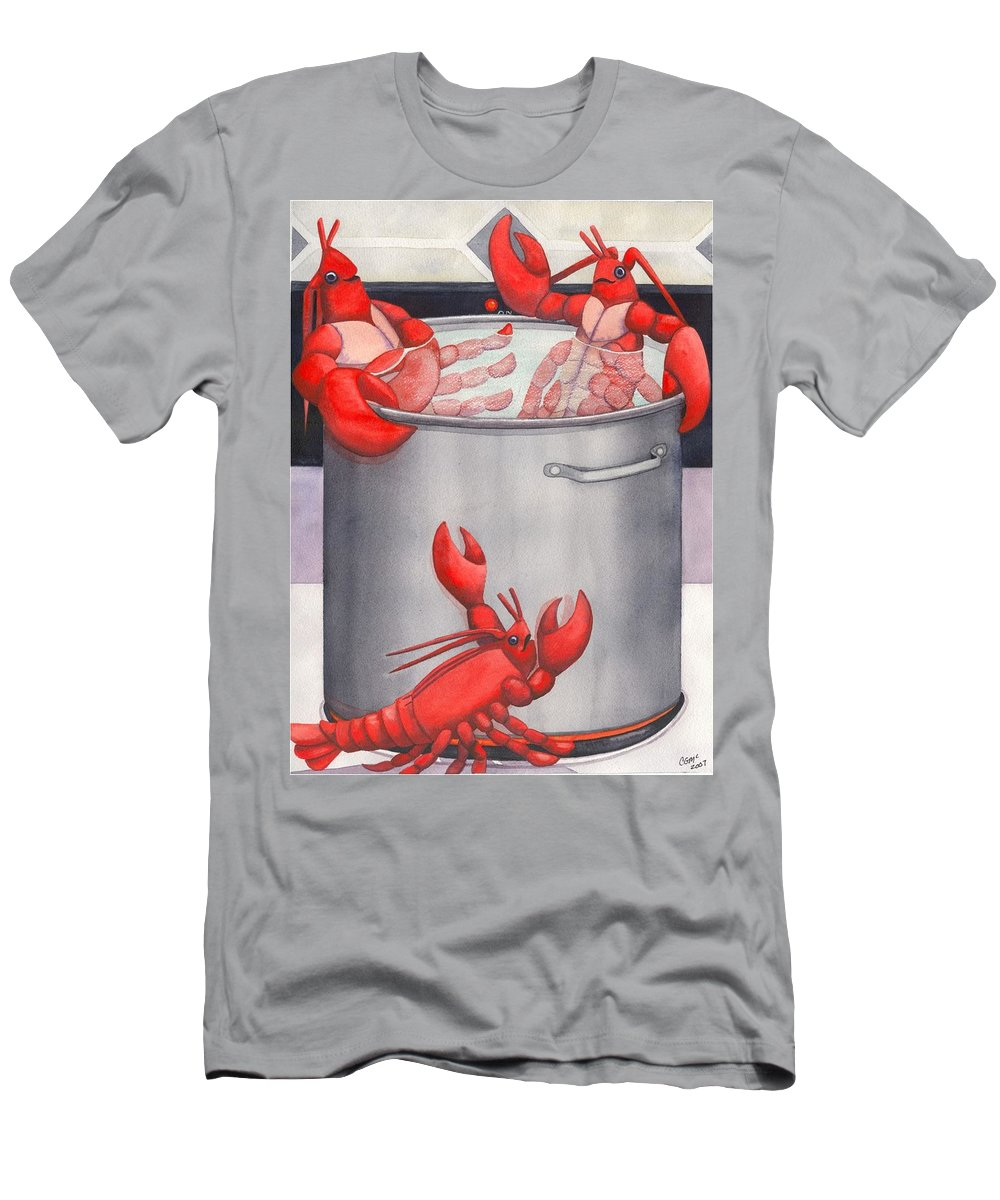 Lobsters Men's T-Shirt (Athletic Fit) featuring the painting Lobster Spa by Catherine G McElroy