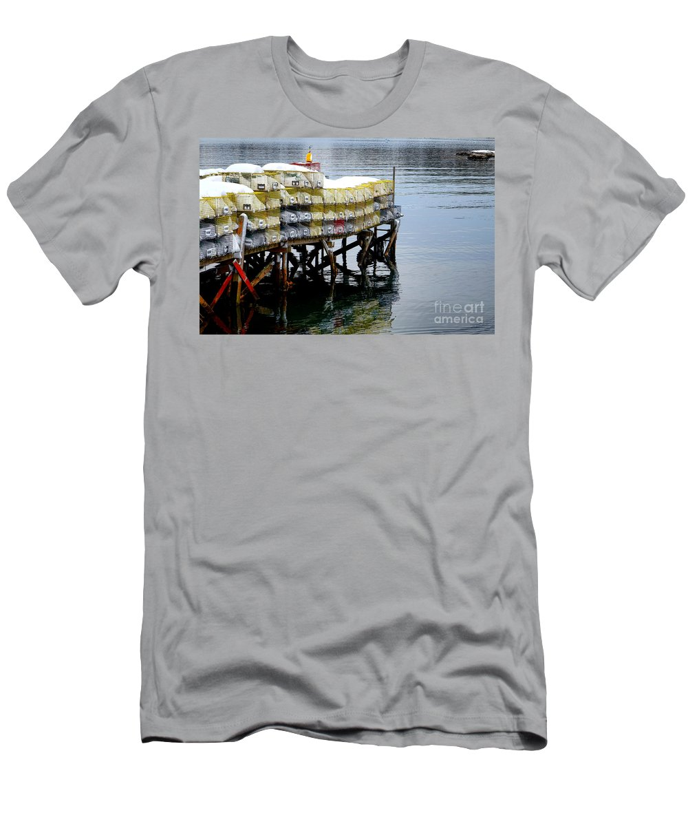 Maine Men's T-Shirt (Athletic Fit) featuring the photograph Lobster Traps In Winter by Olivier Le Queinec