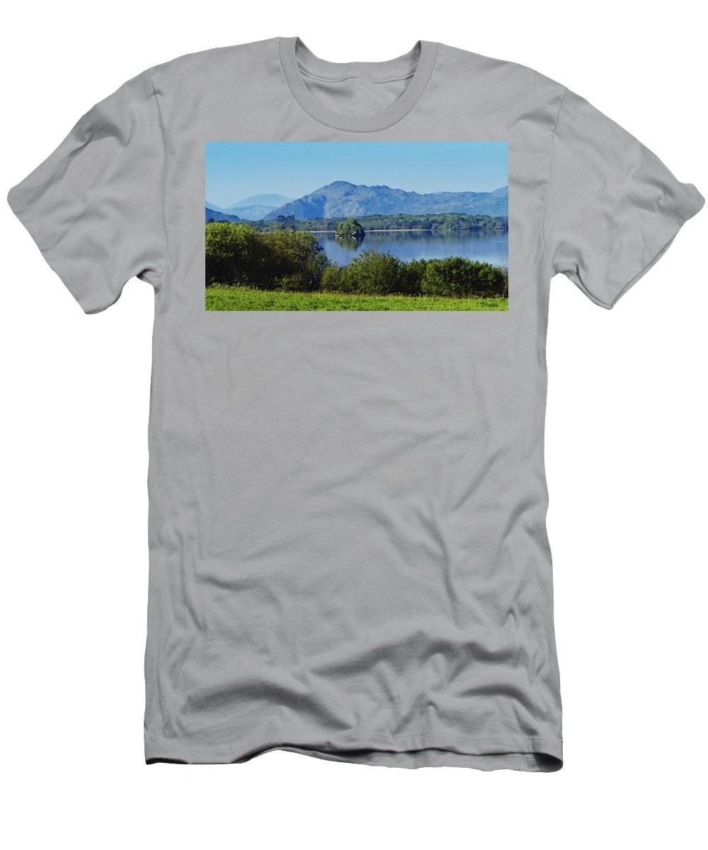 Irish Men's T-Shirt (Athletic Fit) featuring the painting Loch Leanne Painting Killarney Ireland by Teresa Mucha