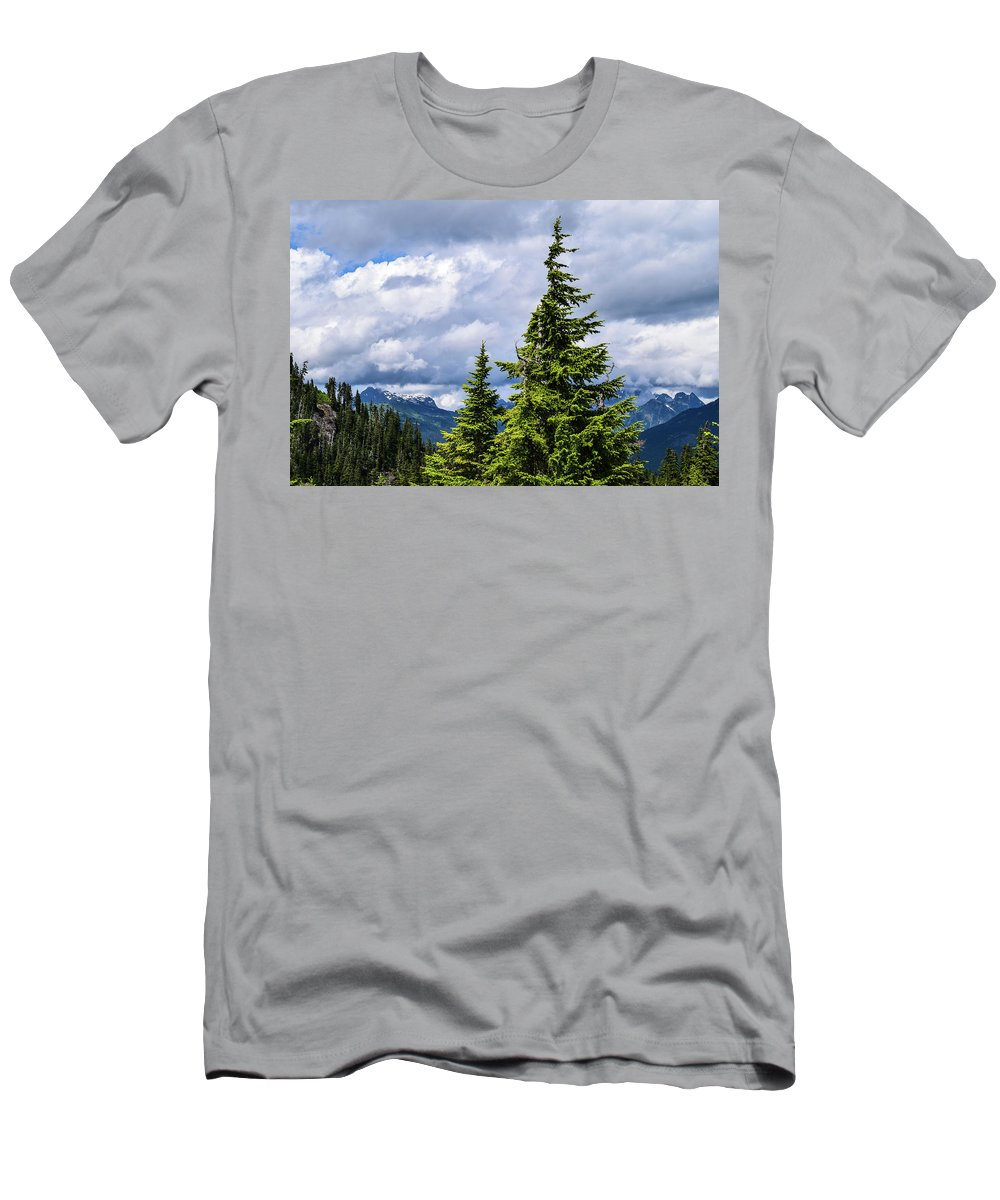 Mt. Baker Men's T-Shirt (Athletic Fit) featuring the photograph Lone Fir With Clouds by Tom Cochran